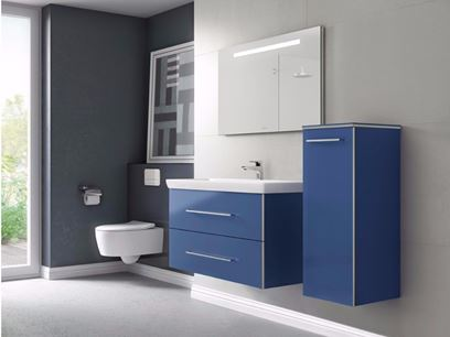 Wall-mounted vanity unit with mirror