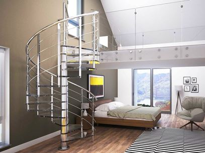 Glass and Stainless Steel Spiral staircase
