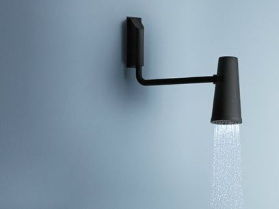 Wall-mounted adjustable overhead shower with arm