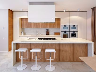 Elm and stone kitchen with island