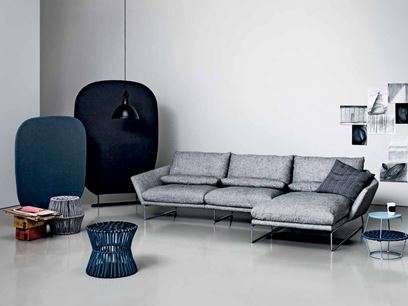 Upholstered sofa with chaise longue