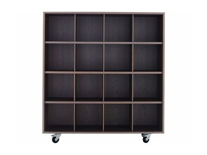 Open solid wood bookcase with casters