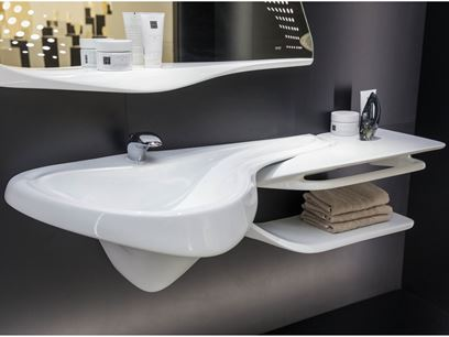 Wall-mounted washbasin with integrated countertop