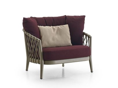 Fabric garden armchair with armrests