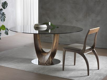 Round wood and glass table