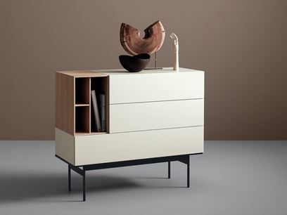 Modular lacquered wooden sideboard