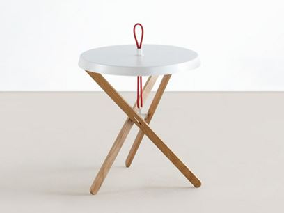Round steel and wood coffee table