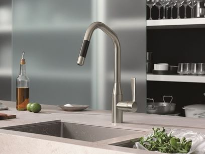 1 hole kitchen mixer tap with pull out spray