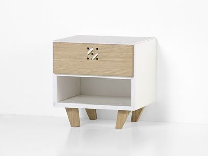 Rectangular wooden bedside table with drawers