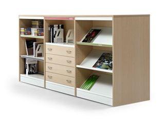 Modular aluminium and wood office shelving