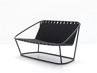 Steel and elastic strapes garden bench
