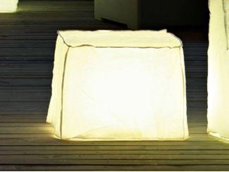 Polyethylene garden pouf with light