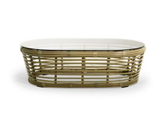 Oval coffee table with synthetic fiber weaving and glass top