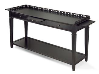 Rectangular wooden console table with drawers