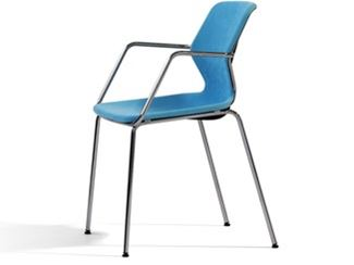 Stackable fabric chair with armrests
